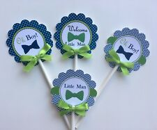 oh boy cupcake toppers/Little man cupcake toppers/navy blue and green oh boy 1dz