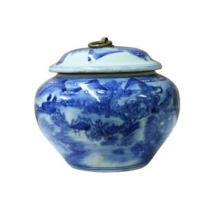 Chinese Oriental Blue Off White Porcelain Round Container Urn ws1113