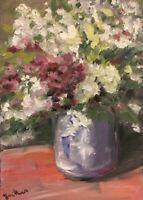 Print of Original oil painting art Vase of flowers impressionism shabby chic