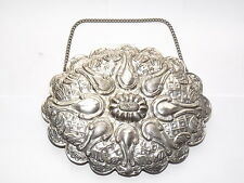 RARE ANTIQUE INDIAN ASIAN EASTERN PERSIAN OTTOMAN SOLID SILVER MIRROR c1915