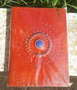 GRIMORIO DIARIO segreto con LAPISLAZZULO pelle magia carta ecologica esoterismo