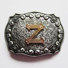 "Initial Letter ""Z"" Cowboy Rodeo Western Metal Belt Buckle"