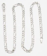 14k White Gold Figaro Chain Link Necklace