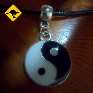 Yin and Yang Yin Yang Tao Pendant with an adjustable dark Leather Necklace  ☯️