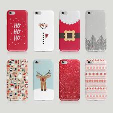 iPhone Samsung Hard Phone Case Christmas Santa Claus Trees Lights Snowman Winter