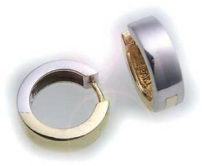 Men's Single Earring Folding Hoops Bicolour Real Gold 750 18 Carat Shiny 15 MM W
