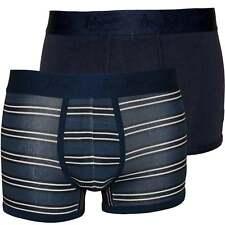 Original Penguin 2-Pack Stripes & Solid Men's Boxer Trunks, Navy/Blue