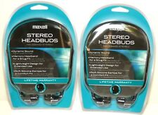 Lot of (2) MAXELL 190317 Stereo Headbuds/Earbuds/Earphones for radio/mp3/cd