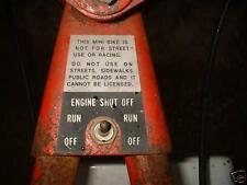 minibike mini bike decals wards sticker engine shut off NARROW decal