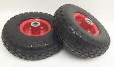"(2) 10"" Flat Free Solid Tire Wheel 4.1/3.5-4 for Lawn Farm Cart Dolly Handtruck"