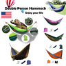 Double 2 Person Outdoor Garden Hammock Portable Camping Swing Hanging Fabric Bed