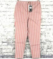 Boohoo Womens US Size 10 High Rise Stripe Skinny Jeans Dea Pink and White NWT