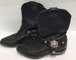 Harley Davidson Ladies Pointed Toe Leather Cowboy Fashion Biker Boots US7 EU38
