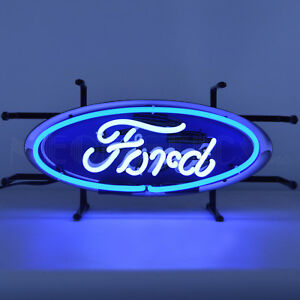 Neon Sign Ford Blue Oval Dad's Garage wall lamp light Mustang GT F-150 Truck OLP