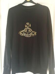 Vivienne Westwood Roundneck Orb Logo Sweatshirt Top Black Size XXL