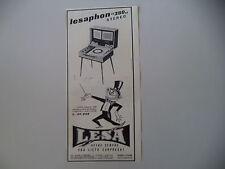 advertising Pubblicità 1962 LESA LESAPHON 380 STEREO