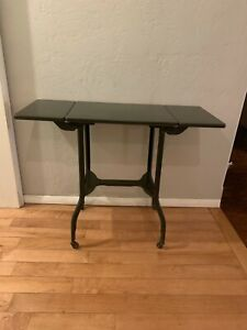 Vintage Industrial Metal Typing Table Stand Rolling Drop Sides Green