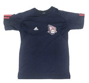 ADIDAS New Jersey NETS NBA T-shirt Top Tee NJ Breathable Mesh Armpit Area Sz 8