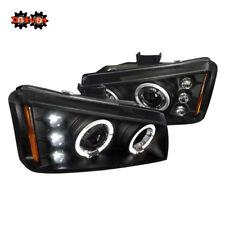 CHEVY SILVERADO 1500/2500 HD DURA MAX HALO LED DRL PROJECTOR HEADLIGHTS BLACK