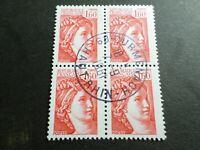 FRANCE BLOC timbres 2155 SABINE, oblitéré 1981 cachet rond, QUARTINA