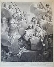 Vanderbank Peter After Sebastien Bourdon Antique c1670 Large Engraving Angels
