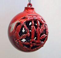 Red Vintage Hard Plastic Filigree Round Christmas Ornament Candles Snowmen