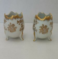 Vtg Pair Birks Porcelaine de France Hand Painted Gilded 24K Gold Egg Footed Vase