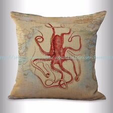 US SELLER, decorative throw pillow covers ocean octopus world map cushion cover