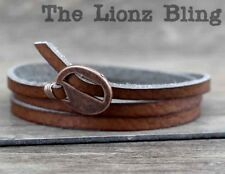 Urban Rustic Genuine Cafe Brown Leather Wrap Bracelet with Buckle style Closure