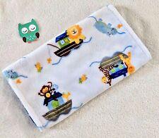 Handcrafted, Noah's Ark Minky Print & Blue Minky Bubble, Baby Burp Cloth