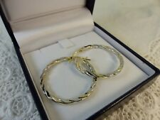 NEW 9ct 9carat Yellow & White Gold Hoop Creole Earrings, Snap Closure 28mm