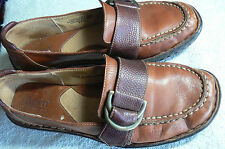 BORN 'MARY JANE' BUCKLE/STRAP SHOES- WMN US 7- EUR 38-BROWN LEATHER-HARD SOLES