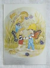Vintage The Butterfly Children Reflective Dufex Postcard A Present for You