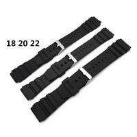 ITS- 18-22mm Black Silicone Rubber Waterproof Sport Wrist Watch Band Strap Durab