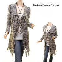 English Boho Fringe Tweed Knit Open Front Cardigan Sweater Jacket Coat S M L XL