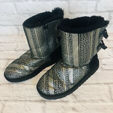 UGG BAILEY BOW HOLIDAY Big Girls Size 6 /  36 Black/Silver 1004797Y Boots j2d