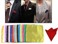 NEW! 15Pcs Satin Plain Colors Handkerchief Hanky Pocket Square Wedding for Men