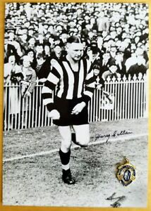 1930 HARRY COLLIER COLLINGWOOD  SIGNED B&W PHOTO & FREE REPLICA BROWNLOW MEDAL