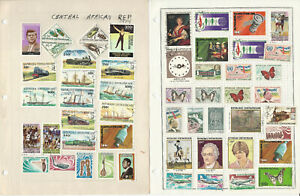 Central Africa Stamp Collection on 16 Harris Pages, JFZ