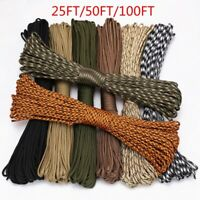 100FT Multi III Stand 7 Cores 550 Paracord Parachute Cord Lanyard #27 Green 4mm