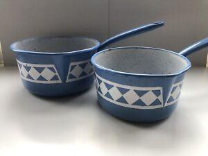 Vintage Enamel Pans Saucepans Set 2 Blue White Patterned