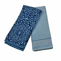 Ralph Lauren Home Absorbent Cotton Oversized Kitchen Towels Set 2 Blue Medallion