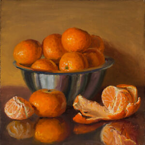 Original still life painting a day realism mandarins fruit 8x8 Y Wang fine art
