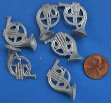 Doll house miniature 6 vintage French horns pot metal charms unfinished 1:12