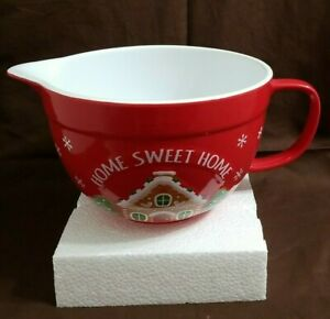 Holiday Time Home Sweet Home 2 Qt Red Batter Bowl Christmas *NEW*