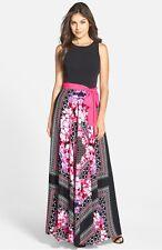 ELIZA J SCARF PRINT JERSEY CREPE DE SHINE FIT & FLARE MAXI DRESS sz  6P