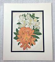 1877 Antique Botanical Print The Downy Azalea Orange White Flowers Floral 19th C
