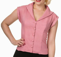 Banned Apparel 50s Rockabilly Vintage Blouse Shirt Button Top Pinup UK 8-14 Pink