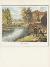"""1974 Vintage FLY FISHING """"ON THE RIVER LEA"""" TOTTENHAM COLOR Art Print Lithograph"""