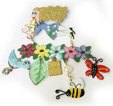 K. Rossi Silvestri Charm Brooch w/ Bee, Butterfly, Leaf, Heart, Dragonfly